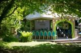 Cornish Tipi Weddings ceremony pavilion under the trees