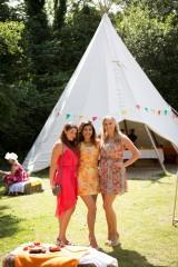 Colourful  guests at Cornish Tipi Weddings