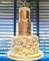 Gold and white Acorn Wedding Cake